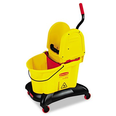 Wavebrake Dual-Water Down-Press Bucket/wringer Combo, 8.75gal, Yellow by Rubbermaid
