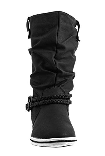 Elara - Botas plisadas Mujer Negro - negro