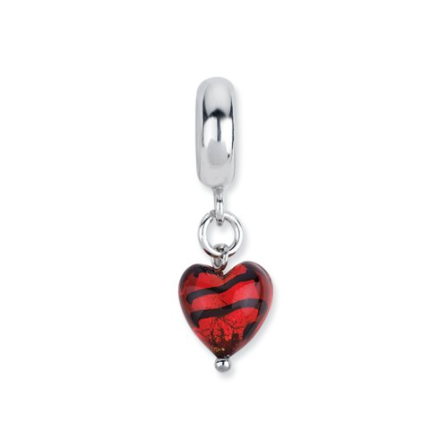 Murano Glass & Sterling Silver Red Striped Heart Dangle Bead Charm by The Black Bow
