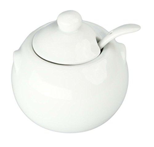 Bia Cordon Bleu 904028 White Porcelain Sugar Bowl With Cover and Spoon ()