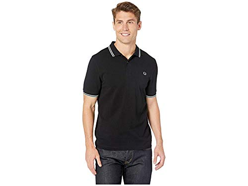 Fred Perry Men's Twin Tipped Shirt Black/Snow White/Mint X-Small (Fred White Pique Perry)
