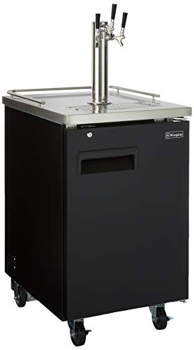 Kegco HBK1XB-3 3-Faucet Commercial Kegerator Keg Beer Dispenser - Black (3 Keg Dispenser Direct Draw)
