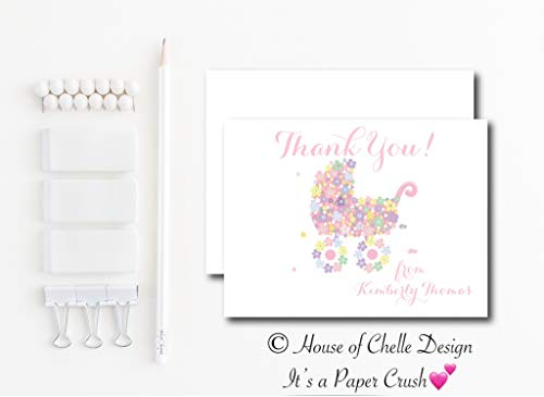Personalized Baby Shower Thank You Cards - Baby Shower Thank You Notes - Set of 12 with Envelopes - FLORAL BABY CARRIAGE PINK
