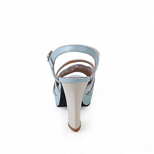 Carolbar Élégance Femmes Boucle Mode Voile Maille Nuptiale Partie Plate-forme Haute Chunky Talon Sandales Bleu