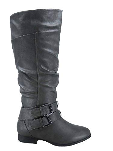 (TOP Moda Coco-20 Women's Fashion Round Toe Low Heel Knee High Zipper Riding Boot Shoes (9 B(M) US, Grey))