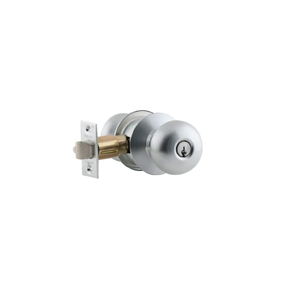 Schlage A53PD PLY 626 C Keyway Series A Grade 2 Cylindrical Lock, Entrance Function, C Keyway, Plymouth Design, Satin Chrome Finish