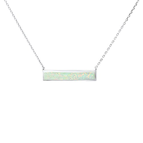 - Oxford Diamond Co Sterling Silver Lab Created White Opal Bar Necklace