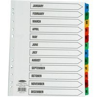 Concord Index January-December A4 Extra-Wide White with Multi-Colour Tabs 07901/CS79