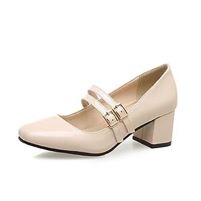 BalaMasa Womens Dress Buckle Solid Apricot Urethane Pumps Shoes APL10611-4 B(M) US