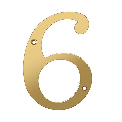Deltana RN6-6 Solid Brass 6-Inch House Number 6 Board