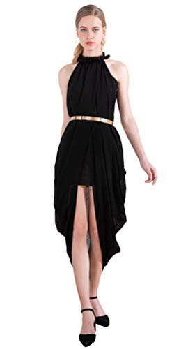 Women's Sheer Chiffon Folds Hi Low Loose Dress Delicate Gold Belt Casual Beach Party Dresses Outer Maxi Inner Mini Small Black