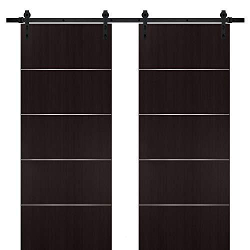 Double Barn Sliding Brown Doors 72 x 80 with Black Hardware | Planum 0020 Wenge | Rails 13FT Hangers Steel Set | Closet…
