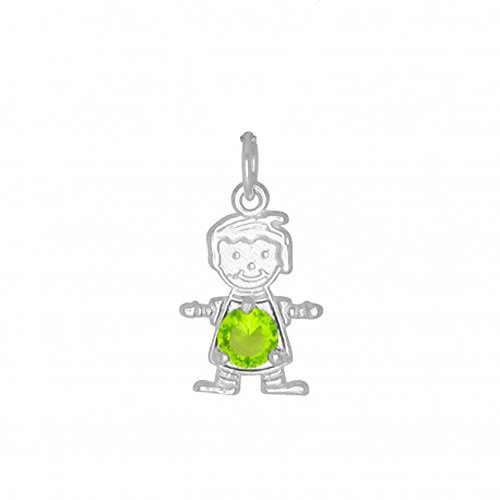 DTLA Sterling Silver CZ Simulated Birthstone Boy Charm Pendant for Baby and Children - August (Birthstone Boy August Charm)