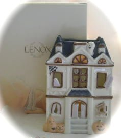 Lenox Occasions Hallowe'en Halloween Haunted House Votive with Ghost & Pumpkin Gift - Retail Lenox Stores