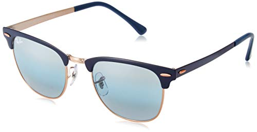 Ray-Ban RB3716 Clubmaster Metal Square Sunglasses, Blue on Copper/Blue Gradient Mirror, 51 ()