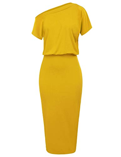 (Women's Sexy One Off Shoulder Ruched Bodycon Party Pencil Dress Size M Yellow CL037-4)