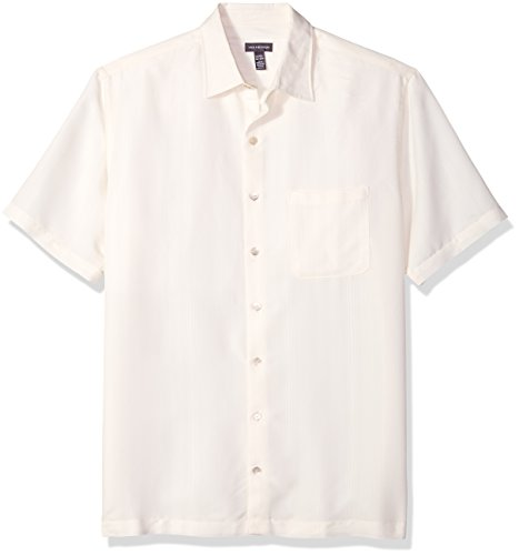Mens Cream Dress Pants - Van Heusen Men's Size Big and Tall Poly Rayon Short Sleeve Button Down Shirt, Cream Egret, X-Large