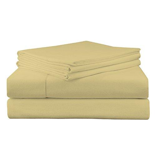 Pointehaven 200 GSM Flannel Sheet Set, King, Solid, - Straw Sheet
