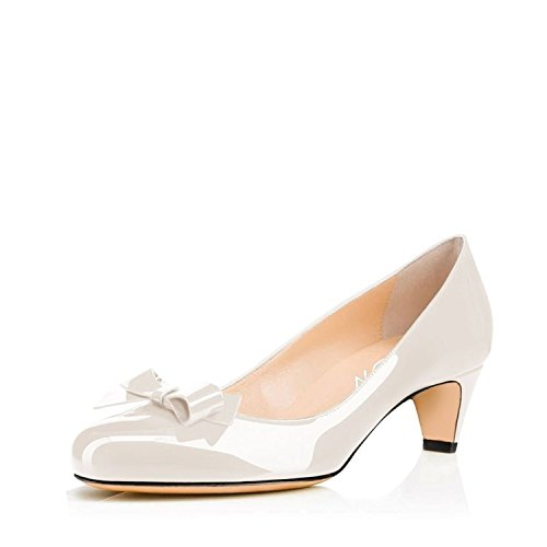discount fashion Style free shipping deals YDN Women Closed Round Toe Pumps Low Heels Shoes With Bowknot For Work Office Ladies Cream White YTdKqtl