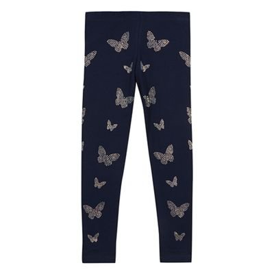 Kids Girls' navy diamante butterfly leggings bluezoo