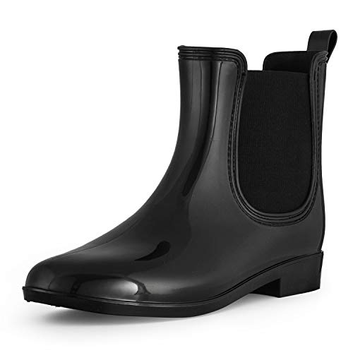 - SheSole Ankle Short Rain Boots for Women Waterproof Chelsea Black US Size 7