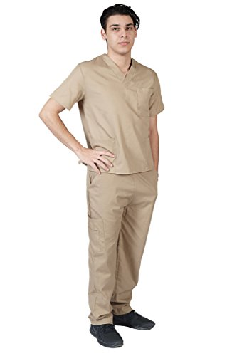 Gents Set - M&M SCRUBS Men Scrub Set Medical Scrub Top and Pants S Khaki