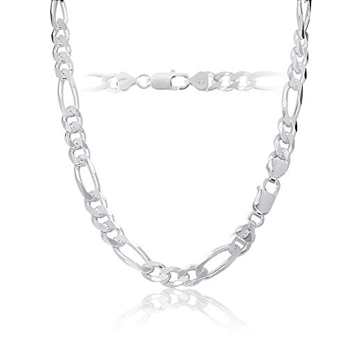 Chain Sterling Figaro Silver Mens (Sterling Silver Figaro Chain Necklace 7mm Italy 28 Inch)