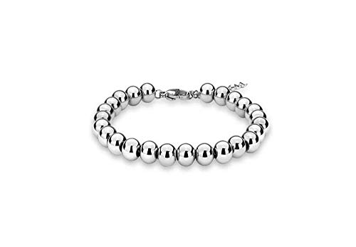 Verona Jewelers Sterling Silver 4MM-10M Italian Bead Ball Chain Bracelet- Handmade Bead Italian Bracelet, Silver Bead Bracelet for Women (6.5, 5MM)