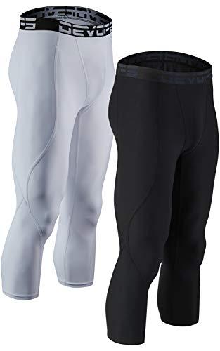 DEVOPS Men's 3/4 (2 Packs) Compression Cool Dry Tights Baselayer Running Active Leggings Pants (Large, Black-White)