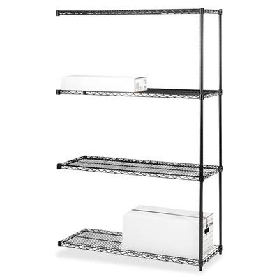 (Lorell Add-On Wire Shelving Unit, 4 Shelves/2 Posts, 36 by 18-Inch, Black)