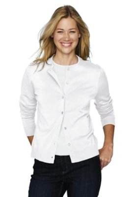Women's Petite Fine Gauge Cardigan (UK Size 16 - 18, WHITE , 39108 ...