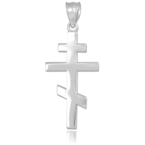 (925 Sterling Silver Plain Russian Orthodox Cross Pendant)