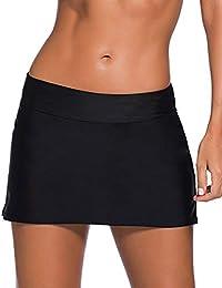 0d8615b80d7ab Women Swim Skirt Solid Color Waistband Skort Bikini Bottom