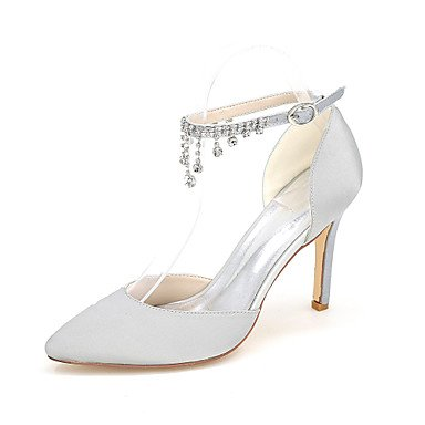 Rhinestone 4U Wedding Best Null Basic For Shoes silver Party Ivory Wedding Evening Spring Women's Pointed Satin Shoes Buckle Pump Null Summer Toe qdCgw6d4T
