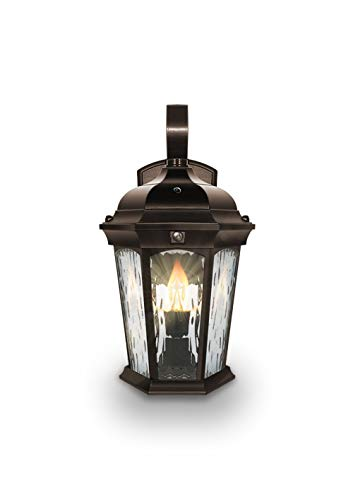 - Euri Lighting EFL-130W-MD Flickering Flame Lantern, Water Glass, with Integrated Security Light (3000K), Photocell and Motion-Sensor (Dusk-to-Dawn), Oil Rubbed Bronze Housing