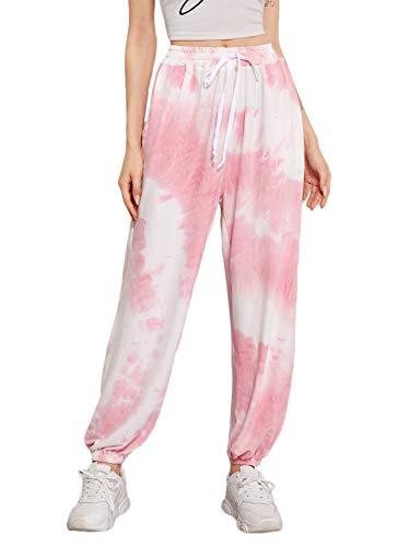 SOLY HUX Women's Drawstring Elastic Waist Tie Dye Sweatpants with Pocket