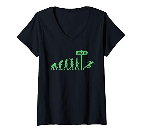 Womens Human Evolution - Storm Area 51 They Can't Stop All of Us V-Neck T-Shirt (Best Ufo Evidence 2019)