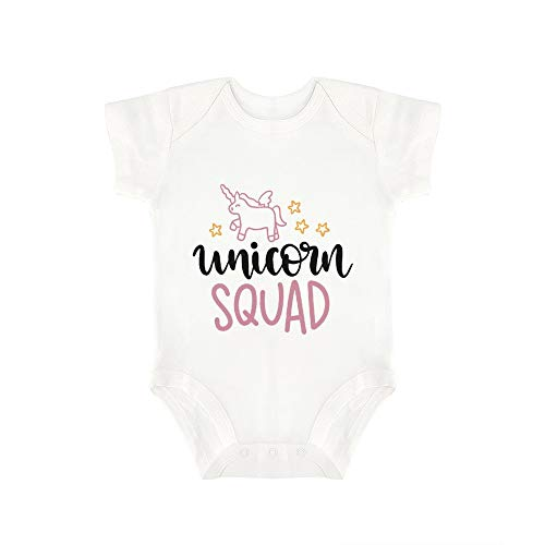 (Promini Cute Baby Onesie Unicorn Squad Baby Bodysuit Infant One Piece Baby Romper Best Gift for Baby White)