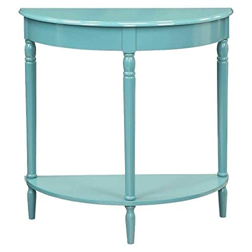 Moon Daughter Blue Console Wall End Table Night Stand Wood Half Circle Hallway Accent Storage Livingroom