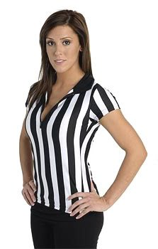 Women's Referee Shirt for Sports Bars with Collar & Zip Front - Large