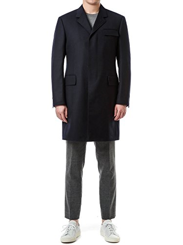 Review Wiberlux Thom Browne Men's Concealed Placket Wool Coat 1 Navy
