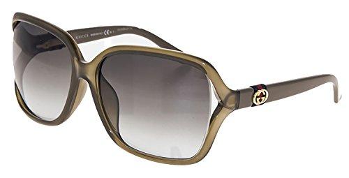 GUCCI GG3658FS Olive Beige Oversized Square Sunglasses Special Fit Gradient - Oversized Sunglasses Gucci Square