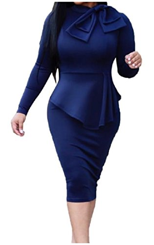 Vestito Partito Comodi Cocktail Bowknot Bodycon Solido Metà Silm Matita Womens Blu zR4qx