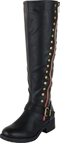 Cambridge Select Women's Contrast Zip Studded Knee-High Block Heel Riding Boot,6.5 B(M) US,Black PU (Studded Knee High Boots)