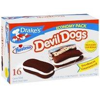 "Hostess Drake's Cakes Devil Dogs, 8 cakes,13.63 oz (pack of 2)"" [total 16 cakes, 27.26 oz]"