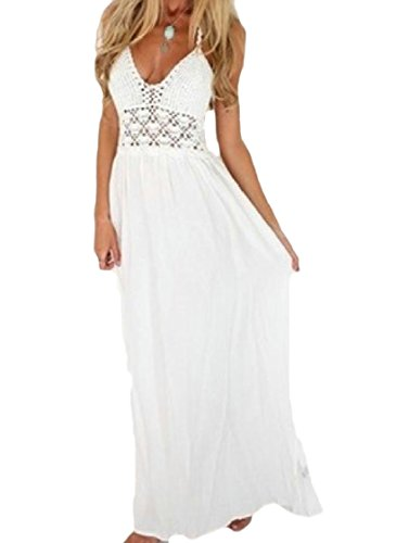 Coolred-femmes Dentelle Point Mousseline Ourlet Robe Longue Maxi Dos Nu Dos Nu Blanc