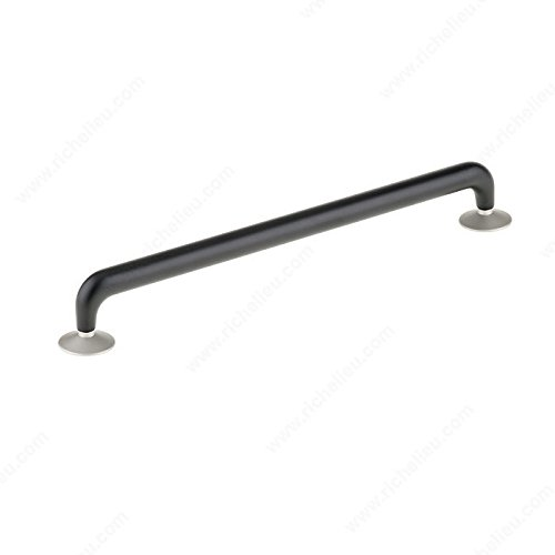 (Richelieu Hardware - New Collection - Contemporary Metal Pull - 7875256900184 (256mm, Matte Black w/Removable Matte Nickel Backplates 900/184))