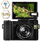 Digital Camera Vlogging Camera 24MP Ultra HD 2.7K WiFi YouTube Camera 3.0 Inch 180 Degree Rotation Flip Screen Camera Retractrable Flashlight