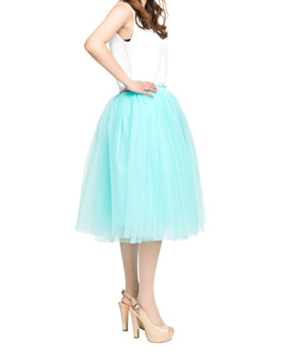 Price comparison product image Women's Elastic High Waist Princess A Line Midi / Knee Length Tulle Skirt Pleated - Mint Green, Free Size