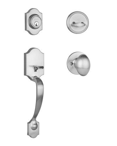 Dynasty Hardware DEN-ASP-100-15 Denver Front Door Handleset, Satin Nickel with Aspen Knob ()